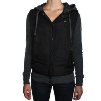 RVCA Puffer Black Juniors Fleece Jacket (Medium)