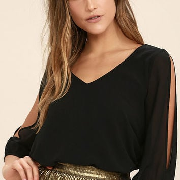 Daily Romance Black Long Sleeve Top