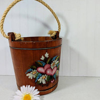 Wooden Bucket with Rope Handle Primitive Rustic Floral Hearts Handpainted Toleware Artwork Antique Wood Feed Pail & Heavy Rough Rope Handle