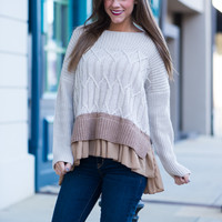 Easy As Pie Sweater, Taupe/Tan