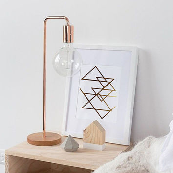 Abstract Print Poster, Real Gold Foil, Gold Triangles Print, Geometric Print Poster, Minimalist Poster, Triangles Wall Art, Home Decor.