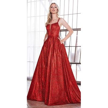Long Glitter A-Line Ball Gown Red Criss Cross Back Plunge Straight Neckline