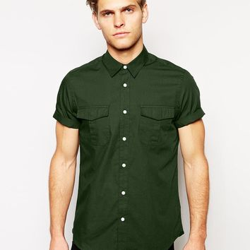 ASOS Military Shirt In Short Sleeve