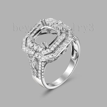 Vintage Cushion Cut 8mm Diamond Semi Mount Setting Engagement Ring14kt /585 White Gold Cushion For The Rings G090433