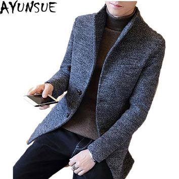 AYUNSUE Winter Wool Coat Men Slim Fit Jacket Mens New 2017 Long Windbreaker Overcoat Manteau Homme Male Plus Size 3XL LX782