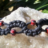 Adjustable Red and Black Macrame Hemp Cord Bracelet