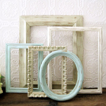 Empty Picture Frame Set Of 5 Antique White Shabby Chic Wall Decor