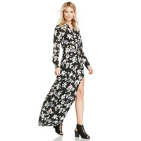Floral Print Long Sleeve Chiffon Maxi Dress with Slit