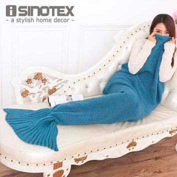 Mermaid Tail Blanket Extra Large Crochet Knitted Handmade Throw Bed Wrap Super Soft Sleeping Bed 195*95cm/77*37'' 1PCS/Lot