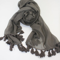 Winter Scarf, Turkish yemeni,  Khaki cotton scarf,