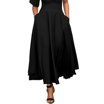 Chicloth Black Retro High Waist Pleated Belted Maxi Skirt