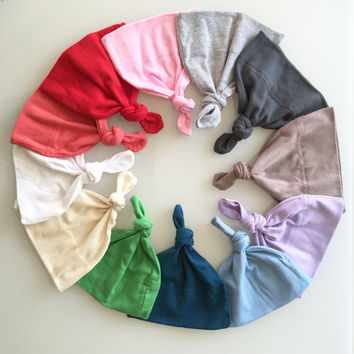 Adjustable Baby Hat (off-white, grey, green, blue, pink, lilac, red, coral, teal)