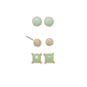 Set of Three Trendy Green Fashion Earrings
