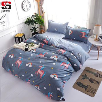 Cool Sookie Unicorn Bedding Set Rainbow Print Duvet Cover and Pillowcases 3pcs Soft Bedclothes Twin Full Queen King Size Bed LinenAT_93_12