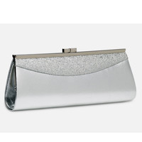 Silver Glitter Top Lock Clutch