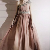 Buy In Stock Elegant Graident Tencel&Malay Satin Floor Length One-shoulder Pink Tulle A-line Evening Dress