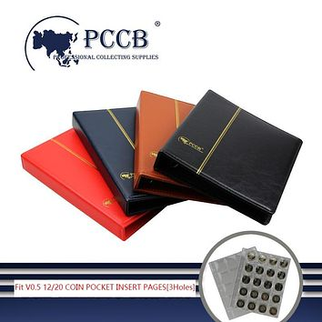 PCCB-MINGT MICRO.V0.5 COIN ALBUM BINDERS, LEATHERETTE BINDER, COIN POCKET INSERT PAGES[3 Holes]