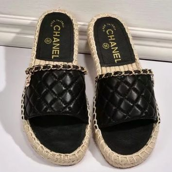 shosouvenir 【Chanel】Straw slippers chain stitching sewing