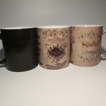 Hogwarts Harry Potter Mischief Managed morphing mug color changing ceramic cup art customized large unique decal gift DIY