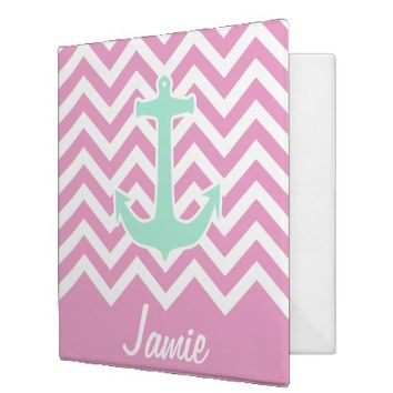 Girly Pink Chevron Teal Anchor Fashion Monogram Vinyl Binder
