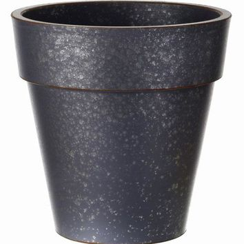 "Galvanized Plastic Planter in Charcoal Grey - 12"" Tall x 12"" Wide"