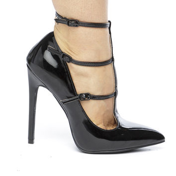 The ANYA T-STRAP PATENT PUMP - BLACK