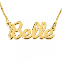 Name Necklace Hand Lettering Style 24k GP