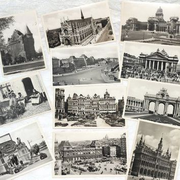 Historic WW2 Era Postcards Brussels Belgium All Unused Set 12 Black White | Thiery and Ern Thill Postcards Matte Finish Vintage 40's