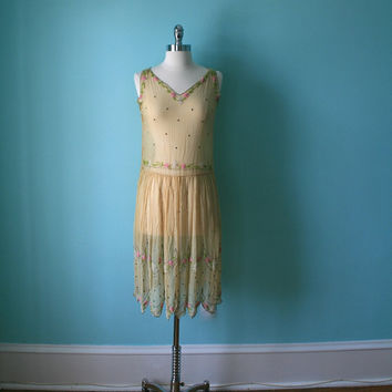 1920s Dress / Vintage Beaded Dress / 20s Wedding / Downton Abbey Gatsby Boardwalk Empire Flapper / Silk Chiffon / Rhinestones / 1920's 20's
