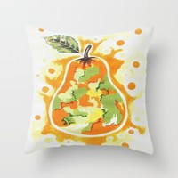 Abstract Pear Throw Pillow by Kathleen Sartoris