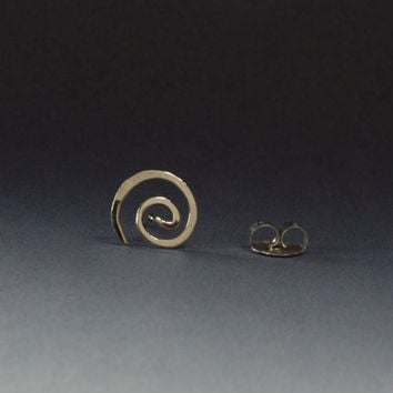 Single Stud Earring for Men, Sterling Silver Spiral Stud, Man's Earring, Small Single Earring, Hammered 925 Silver Spiral on Post