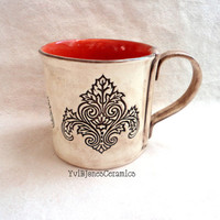 Large Ceramic Mug, Coffee Cup, Hand Built from Scratch, Victorian Lotus Flower Design