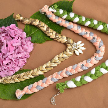 Handmade necklaces made of threads present for woman designer fabric accessories