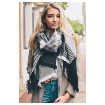 Always in Style Black Grey Ivory Plaid Thick Oblong Scarf