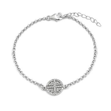 Chinese Good Luck Symbol Charm CZ Pave Chain Bracelet Sterling Silver