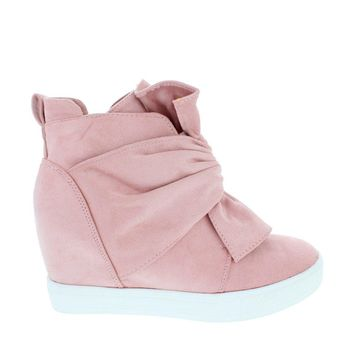 Knotted Suede Sneaker Wedge