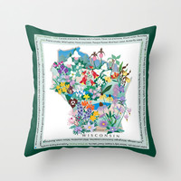 Wisconsin Wildflowers pillow cover, prairie, woodland, native wildflowers, trillium, ladys slipper. living room, bedroom, home decor