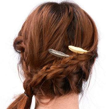 Manual Copper Feather Hair Clips