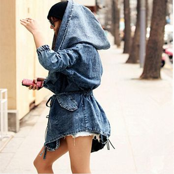 Autumn Denim Coat Oversized Hoodie Hooded Outerwear Jean Wind Jacket Denim Women Coat Female Winter chaquetas mujer HO658055