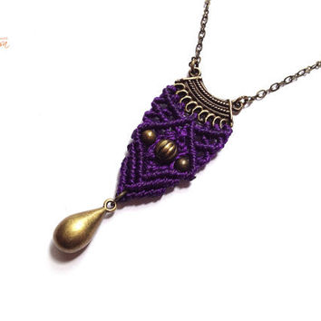 Hippie-chic minimalist violet handwoven pendant on a antique bronze color chain micro macrame boho gypsy bohemian