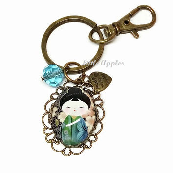 Keychain, zipper pull, purse charm, Kokeshi doll, Japanese girl, Washi, blue green, birthday gift