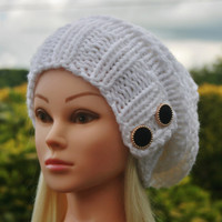 Knit Hat Womens Hat Slouchy Hat in White -Beanie Hat-Womens Accessories