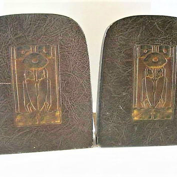 Art Nouveau Book Ends, Craftsman Style,  Tooled Leather, Resembles Roycroft, Antique Book Ends