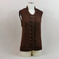 Chocolate Tank Lace Vest Spring Top Urban Clothing Lace Queen Ann V Neck Brown Sweater
