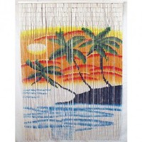 Bamboo54 Double Orange and Blue Palm Tree Bamboo Curtain - 5237
