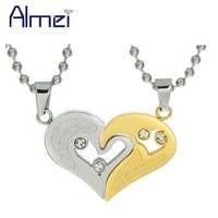 Almei Ladies Blue Chocker Black Heart Love Necklaces for Couples Women Mens Stainless Steel Free Chain Paired Pendants SN102