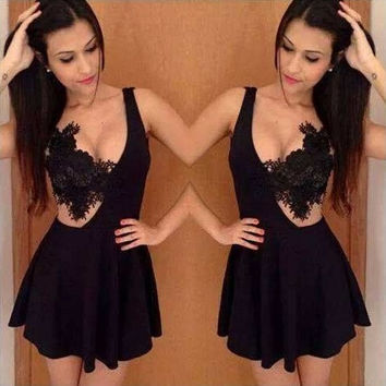 2015 New Brand Sexy Women Fashion Lace Sleeveless Hollow Out Women's Dresses Mini Party Club Dress Vestidos Black White Yellow = 1946851012