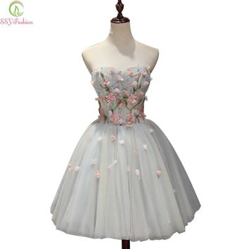 Sweet Flower Short Cocktail Dresses Strapless Sleeveless Mini Sexy Part Gown Banquet Formal Dress