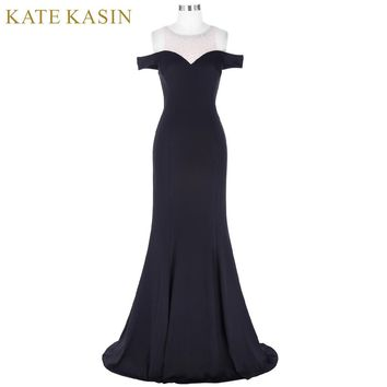 Kate Kasin Long Black Prom Dress Vestido de Festa Floor Length Party Gown Evening Dress Mermaid Prom Dresses 2017 with Beaded