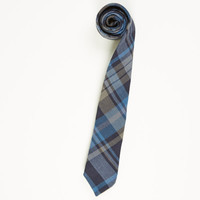 Navy & Gray Plaid Cotton Tie